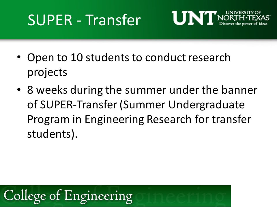 SUPER - Transfer Open to 10 students to conduct research projects