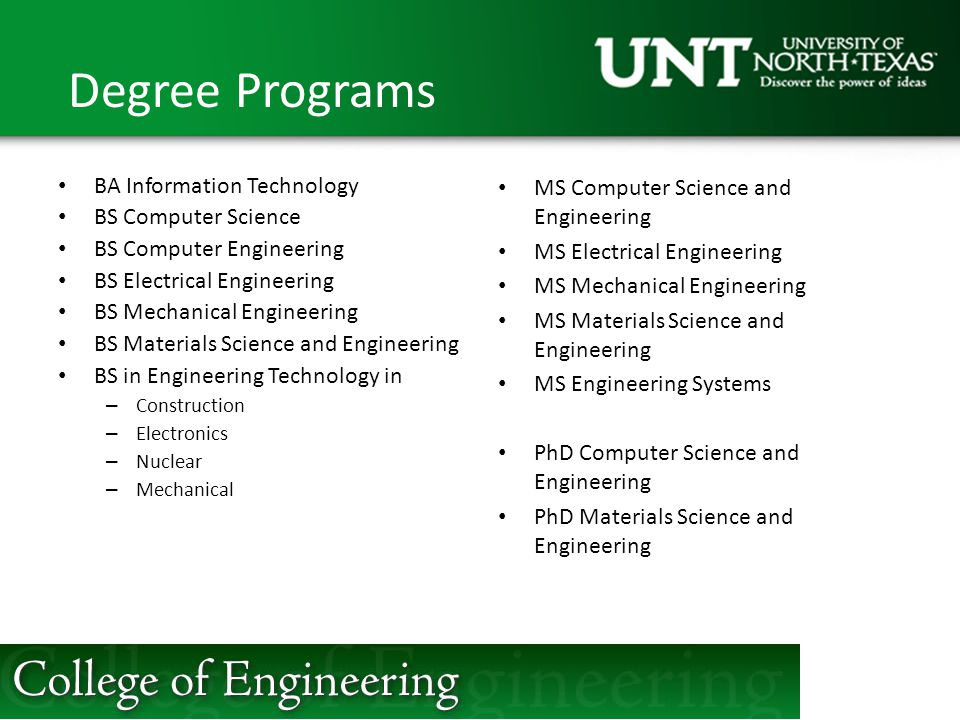 Degree Programs BA Information Technology BS Computer Science