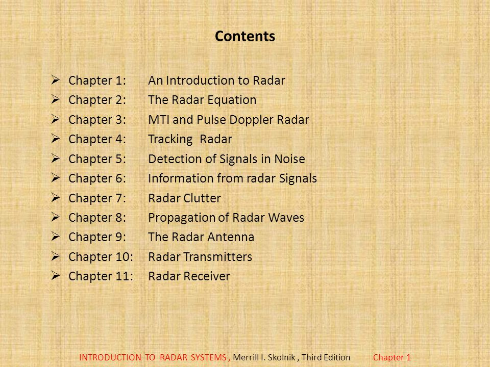 Contents Chapter 1: An Introduction to Radar