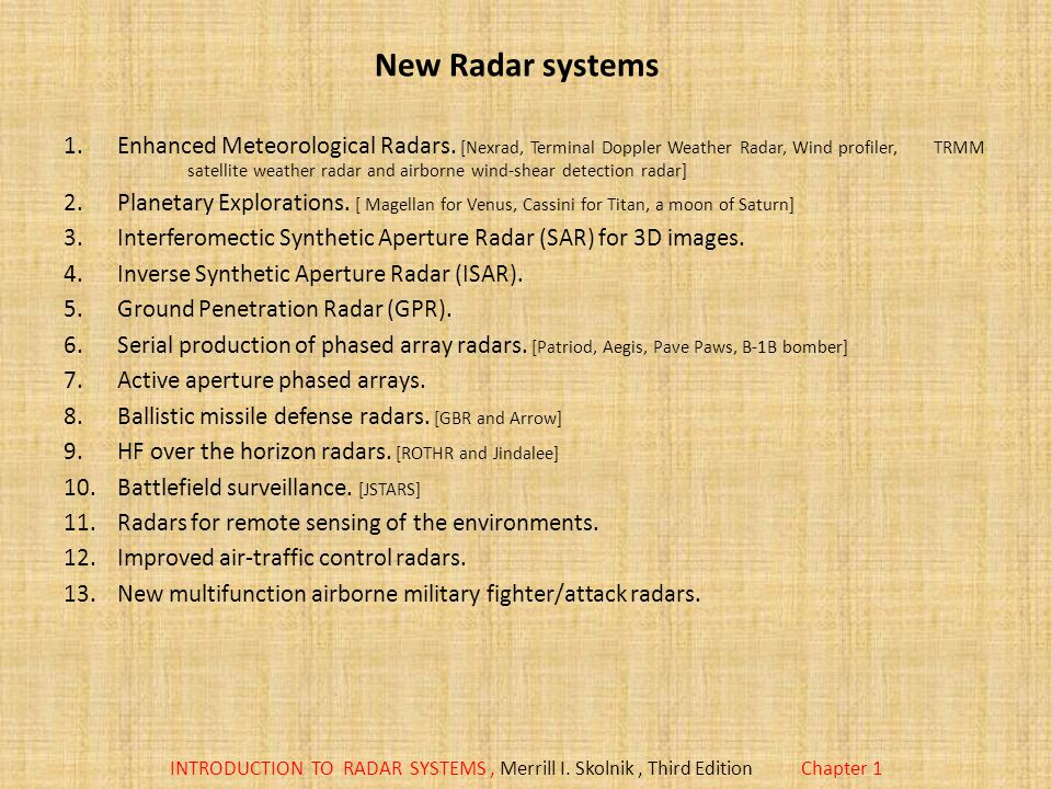 New Radar systems