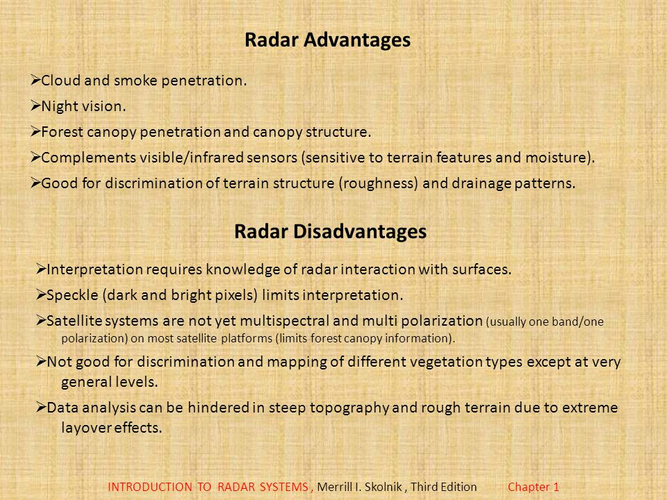 Radar Advantages Radar Disadvantages