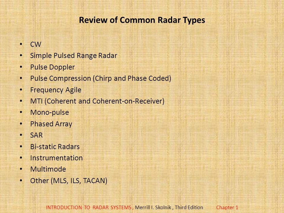 Review of Common Radar Types