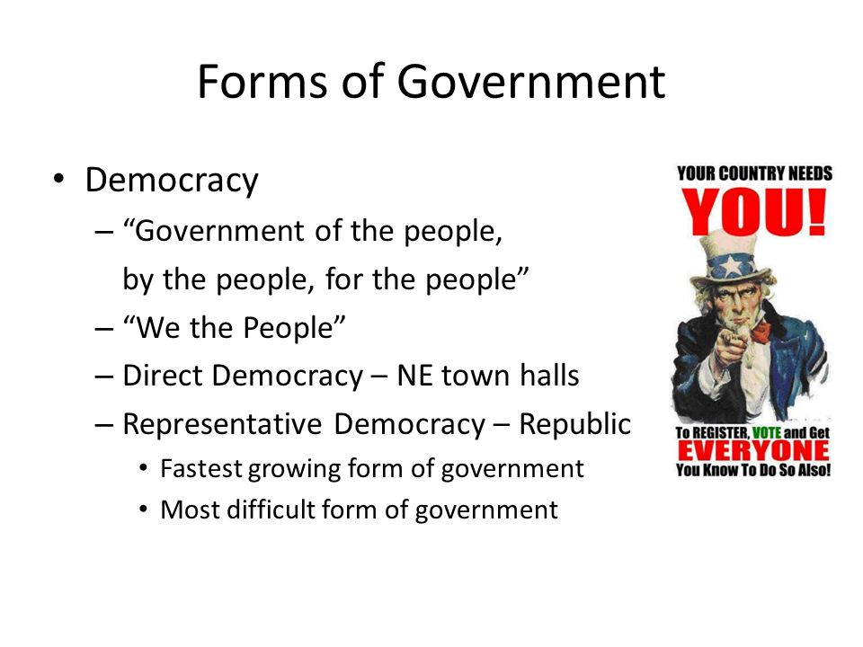 Forms of Government Democracy Government of the people,