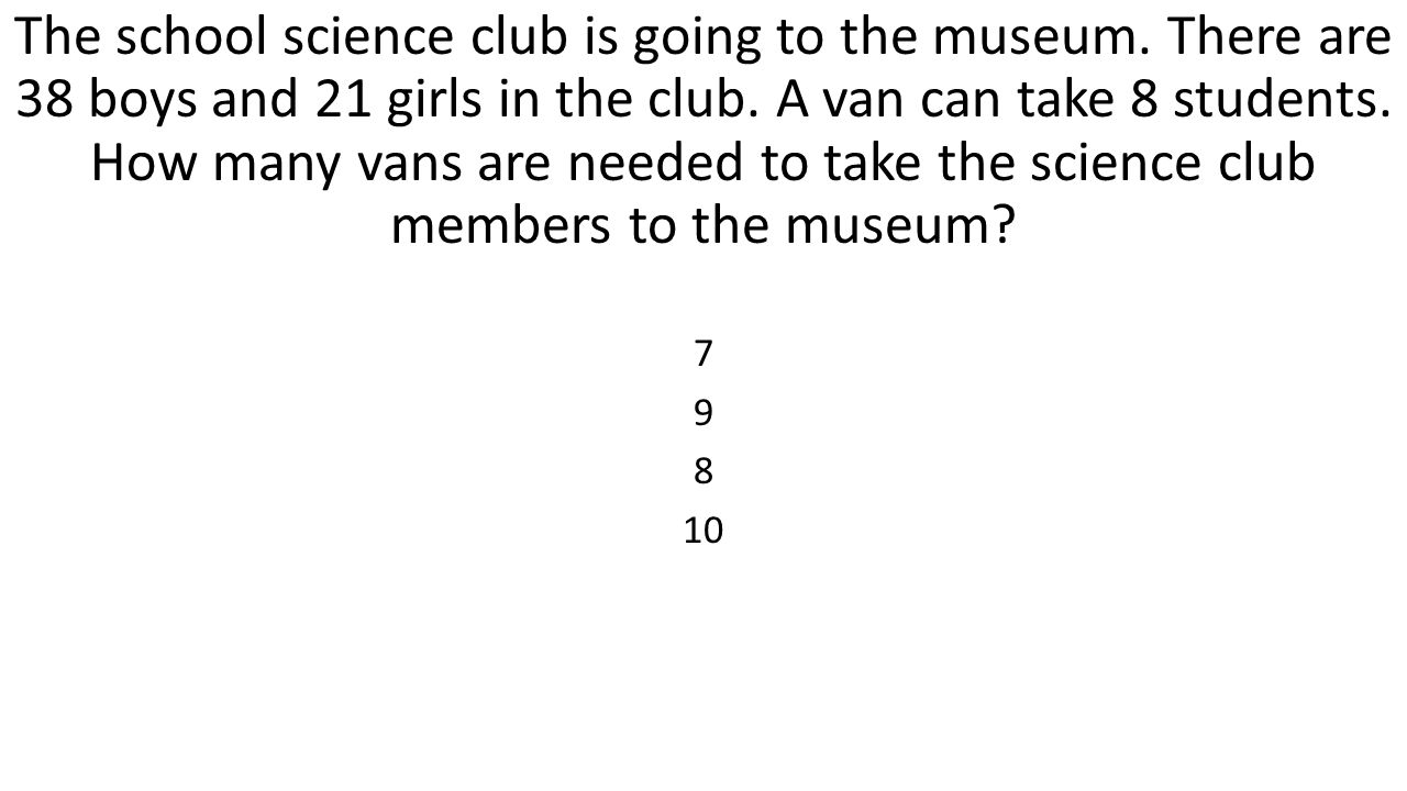 The school science club is going to the museum