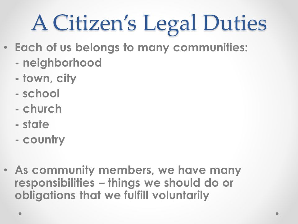A Citizen's Legal Duties