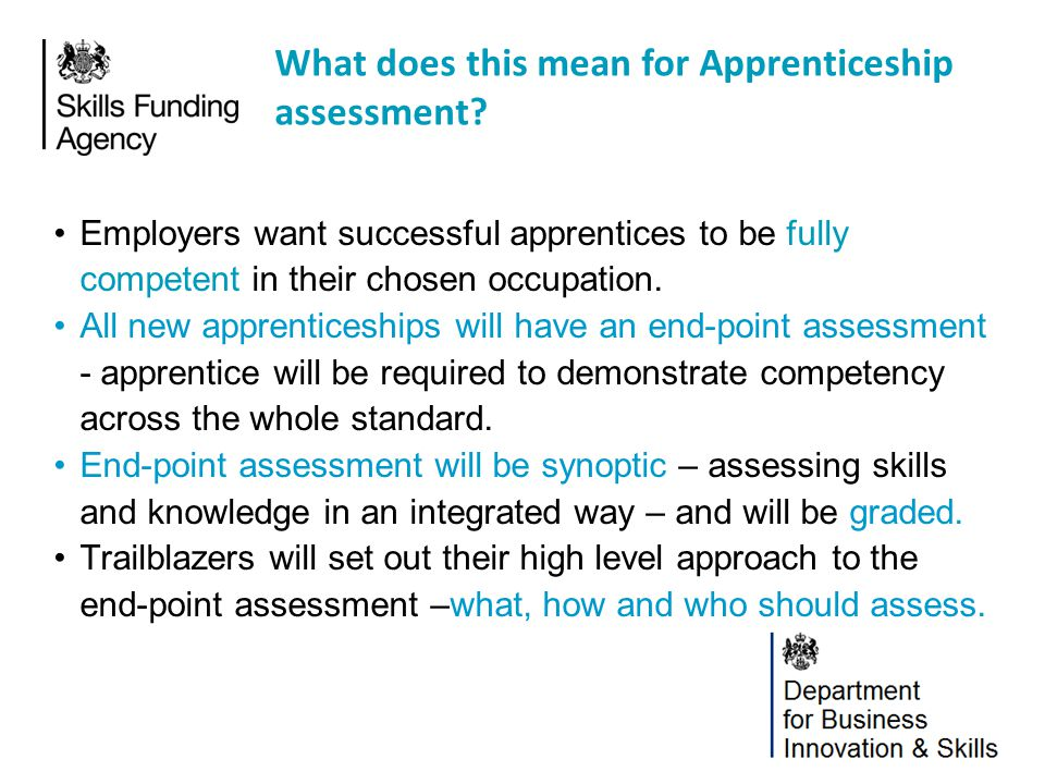 What does this mean for Apprenticeship assessment
