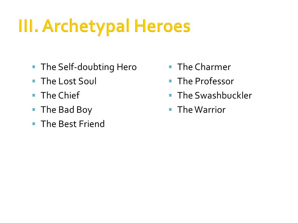 III. Archetypal Heroes The Self-doubting Hero The Lost Soul The Chief
