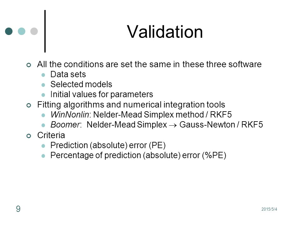 Validation All the conditions are set the same in these three software