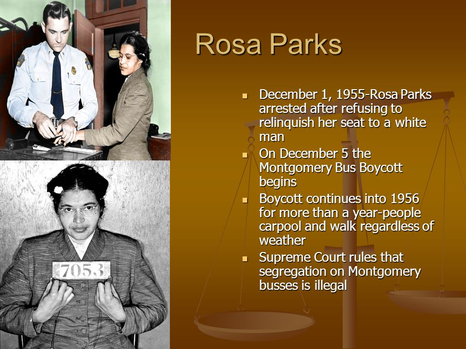 Rosa Parks December 1, 1955-Rosa Parks arrested after refusing to relinquish her seat to a white man.