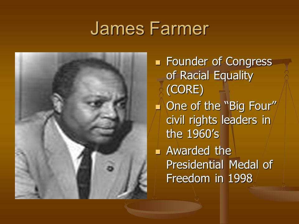 James Farmer Founder of Congress of Racial Equality (CORE)