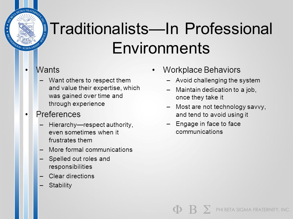 Traditionalists—In Professional Environments