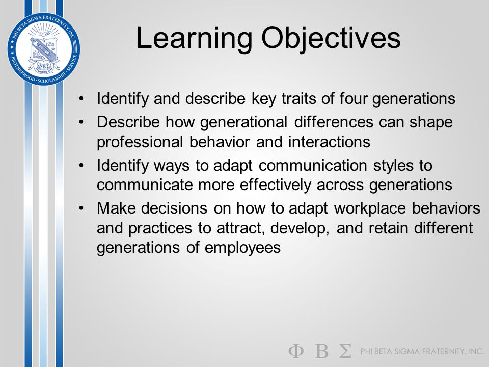 Learning Objectives Identify and describe key traits of four generations.