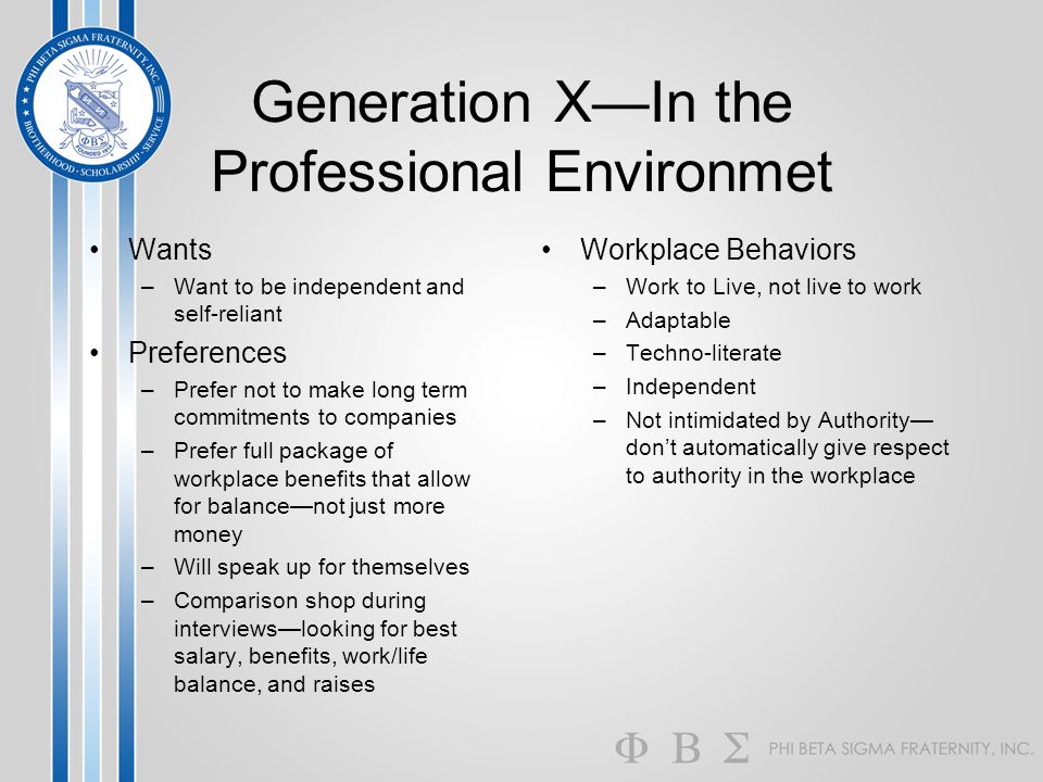Generation X—In the Professional Environmet