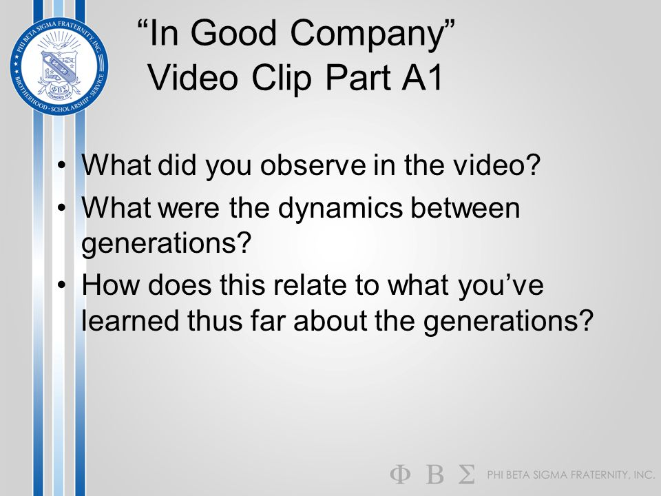 In Good Company Video Clip Part A1