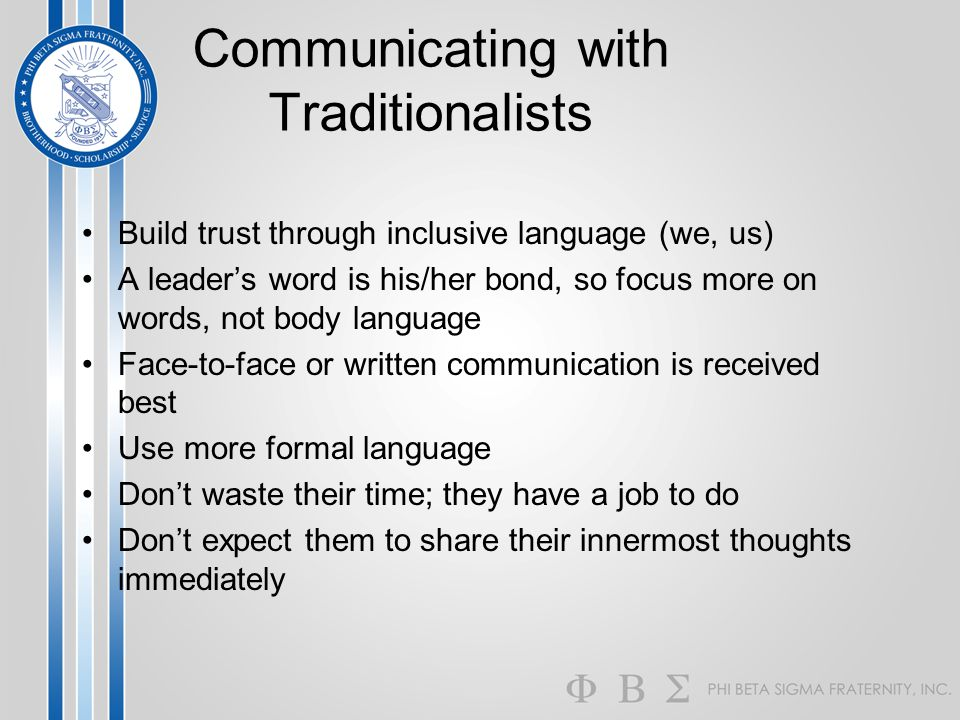 Communicating with Traditionalists