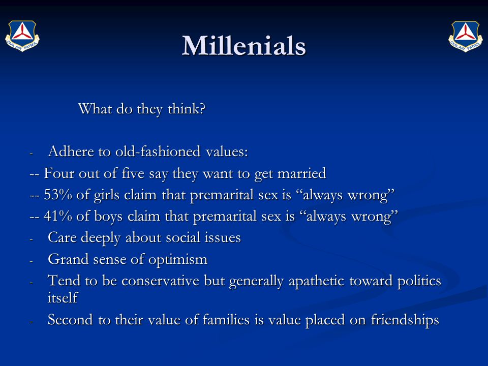 Millenials What do they think Adhere to old-fashioned values: