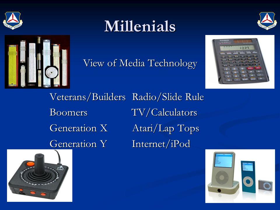 Millenials View of Media Technology Veterans/Builders Radio/Slide Rule Boomers TV/Calculators Generation X Atari/Lap Tops Generation Y Internet/iPod
