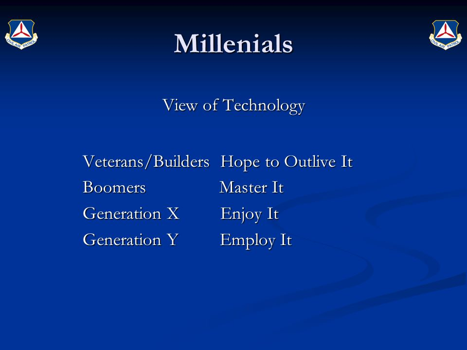 Millenials View of Technology Veterans/Builders Hope to Outlive It Boomers Master It Generation X Enjoy It Generation Y Employ It