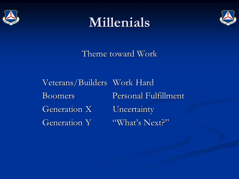 Millenials Theme toward Work Veterans/Builders Work Hard Boomers Personal Fulfillment Generation X Uncertainty Generation Y What's Next