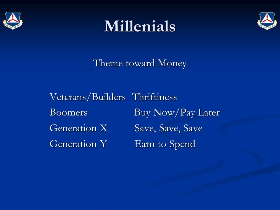 Millenials Theme toward Money Veterans/Builders Thriftiness Boomers Buy Now/Pay Later Generation X Save, Save, Save Generation Y Earn to Spend