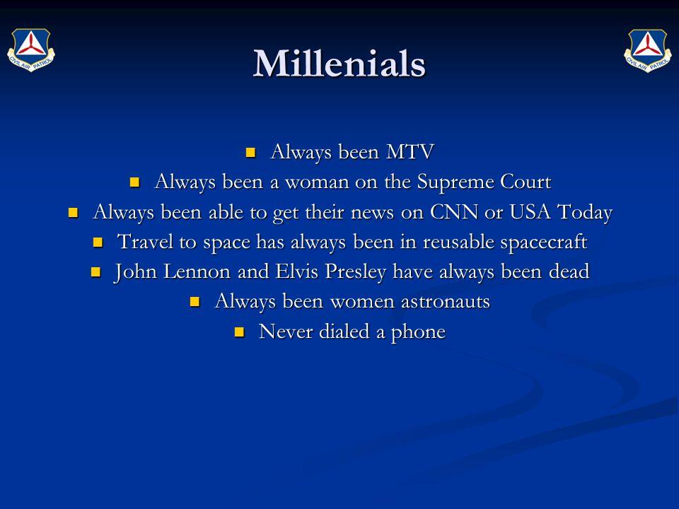Millenials Always been MTV Always been a woman on the Supreme Court
