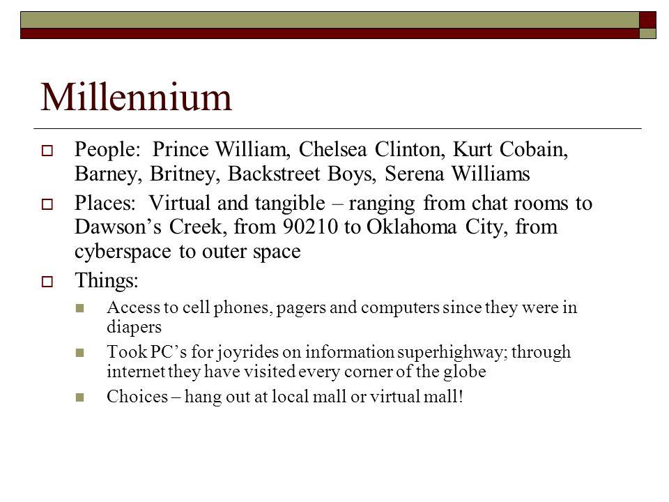 Millennium People: Prince William, Chelsea Clinton, Kurt Cobain, Barney, Britney, Backstreet Boys, Serena Williams.