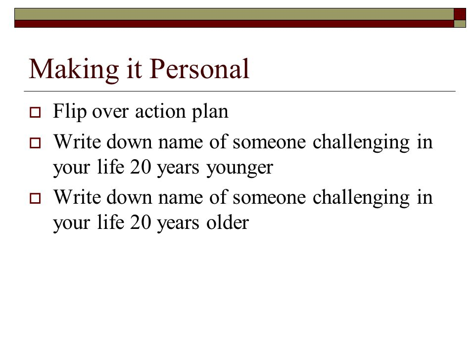 Making it Personal Flip over action plan