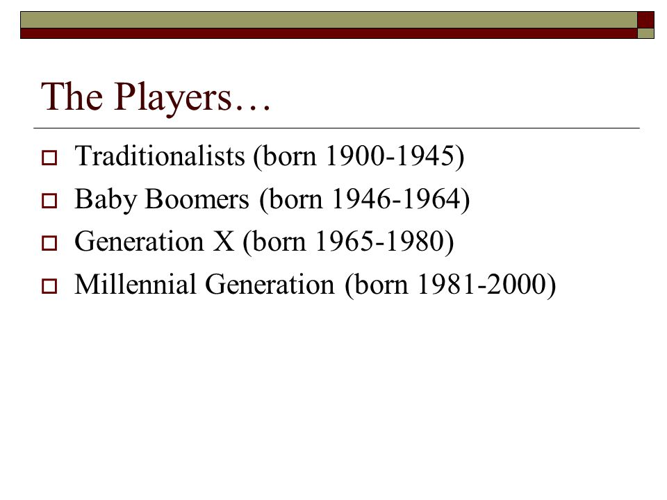 The Players… Traditionalists (born 1900-1945)