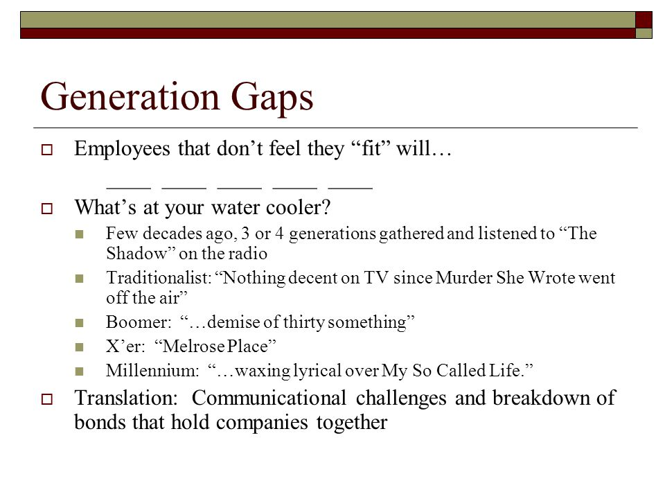 Generation Gaps Employees that don't feel they fit will…