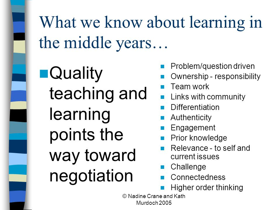 What we know about learning in the middle years…