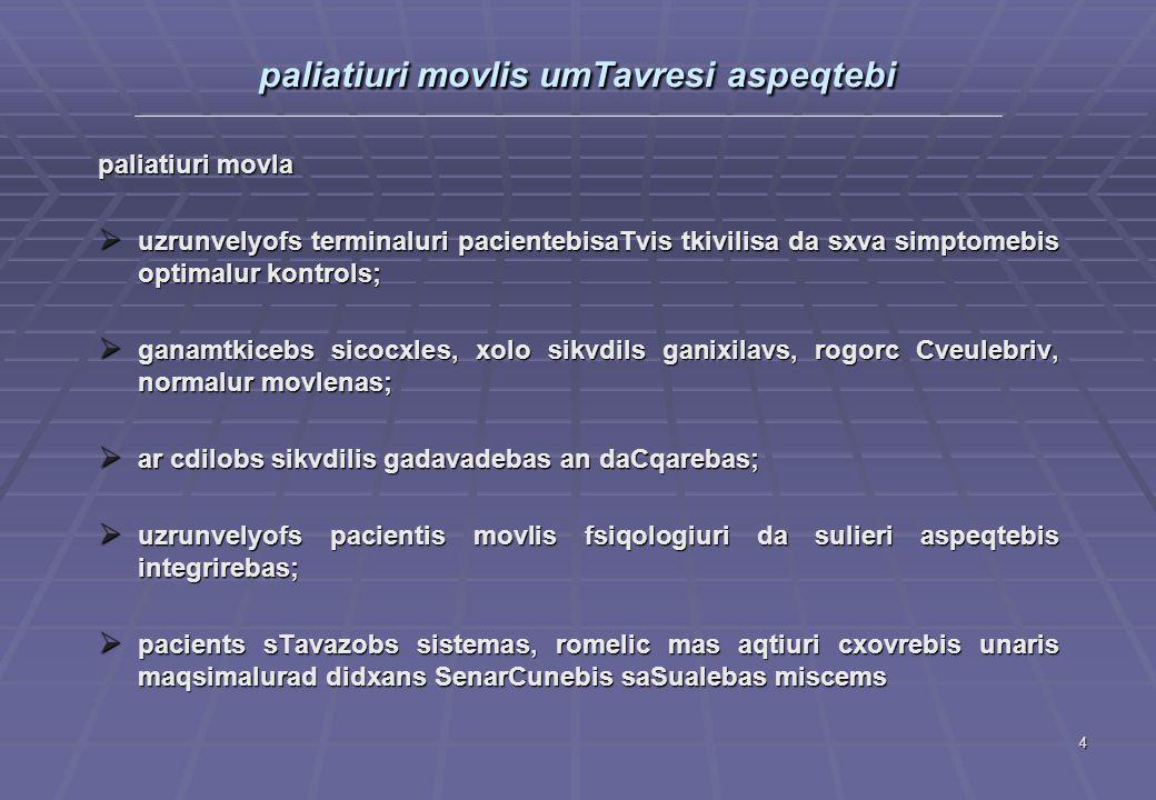 paliatiuri movlis umTavresi aspeqtebi