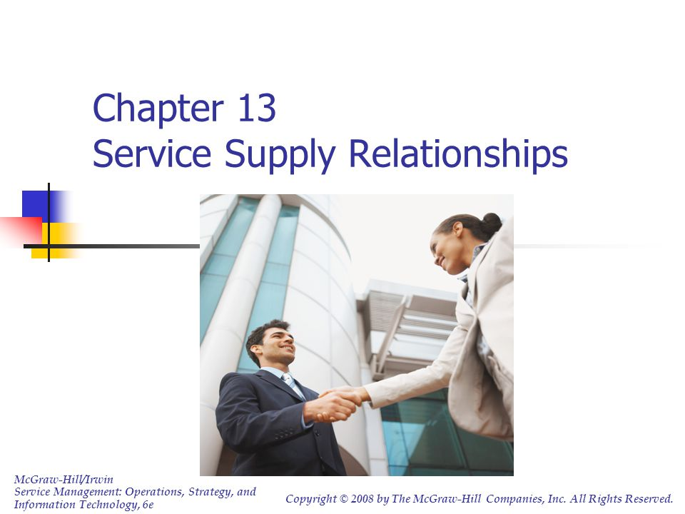 Chapter 13 Service Supply Relationships