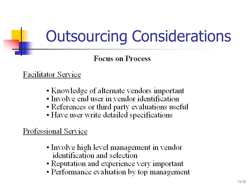 Outsourcing Considerations