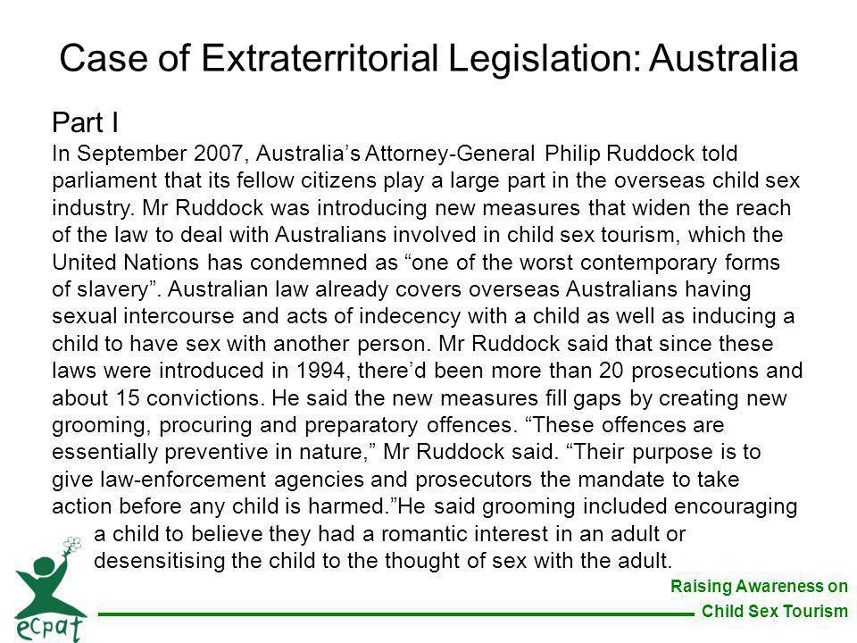 Case of Extraterritorial Legislation: Australia