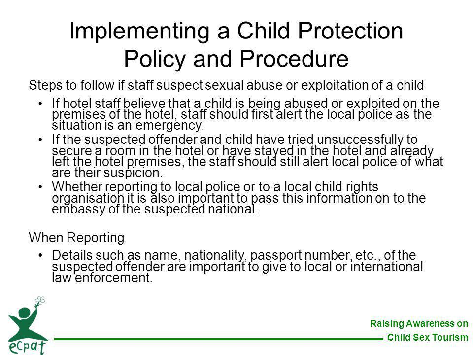 Implementing a Child Protection Policy and Procedure