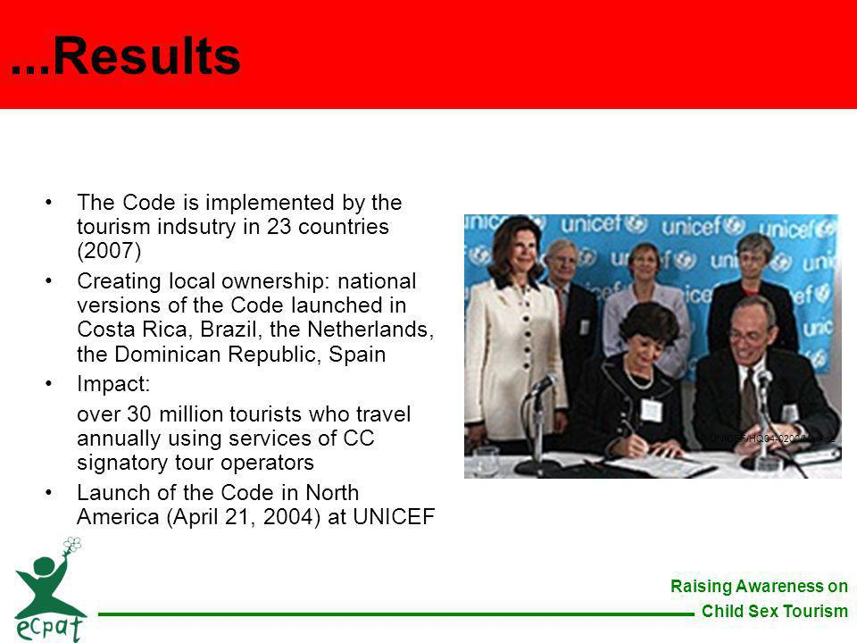 ...Results The Code is implemented by the tourism indsutry in 23 countries (2007)