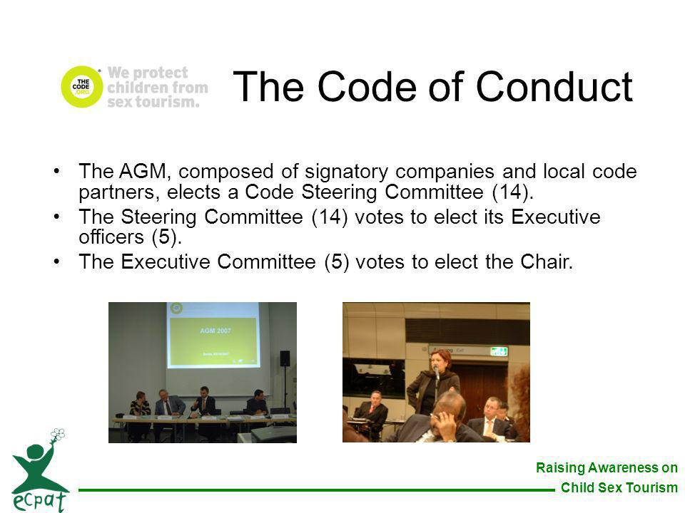 The Code of Conduct The AGM, composed of signatory companies and local code partners, elects a Code Steering Committee (14).