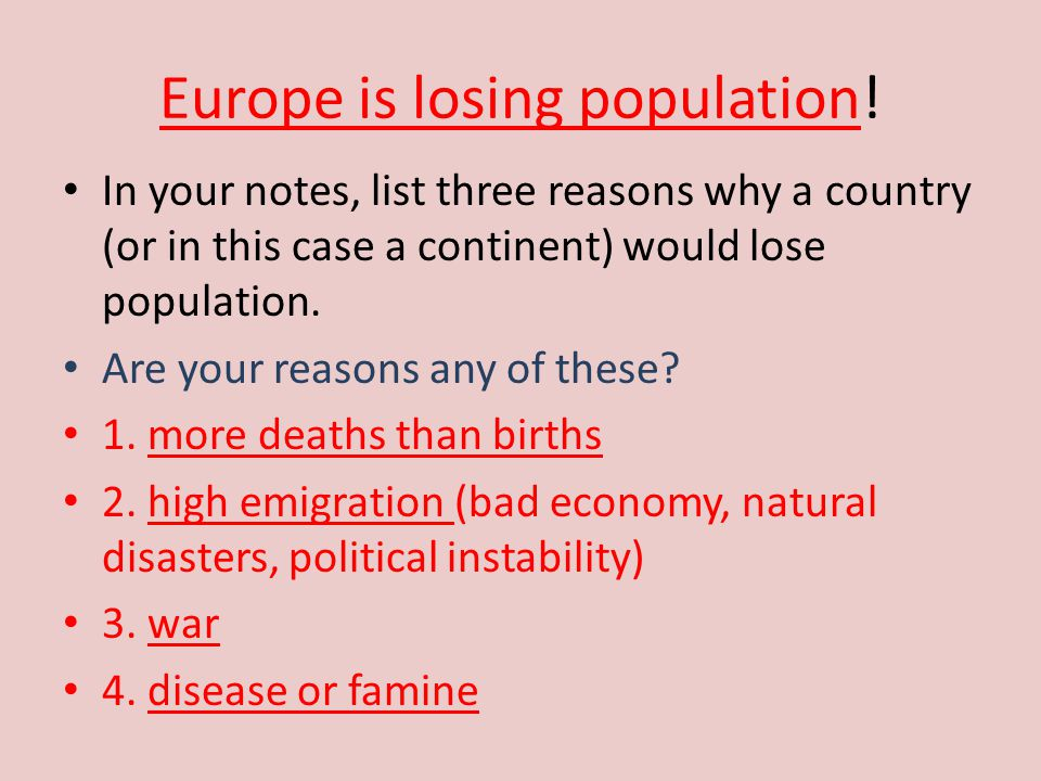 Europe is losing population!