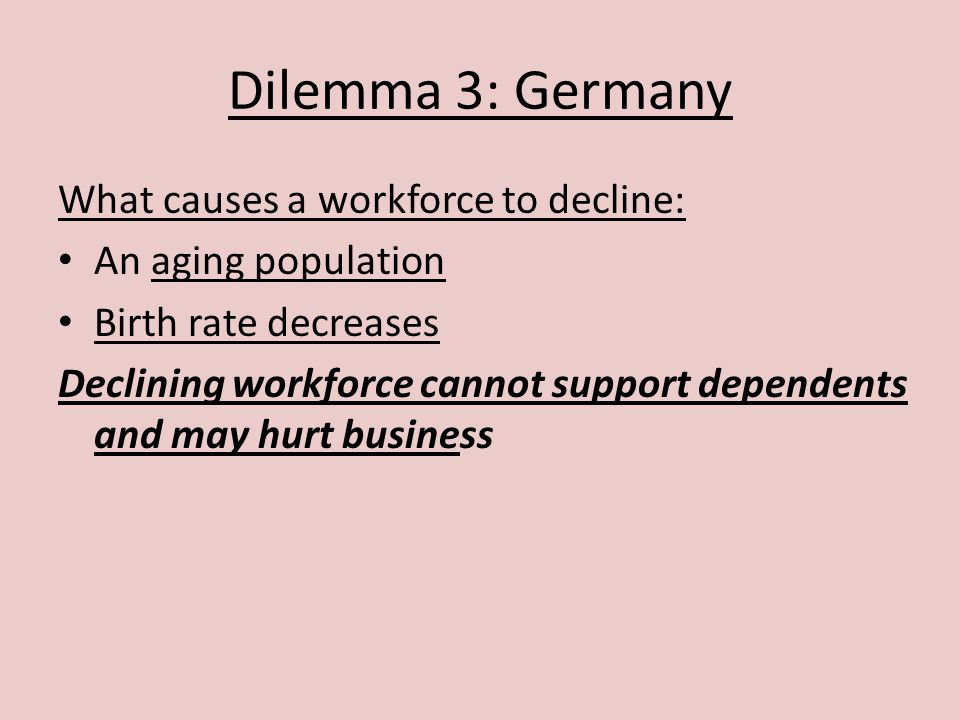 Dilemma 3: Germany What causes a workforce to decline: