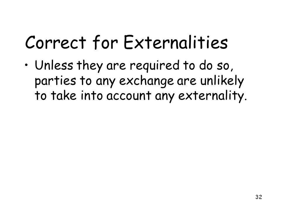 Correct for Externalities