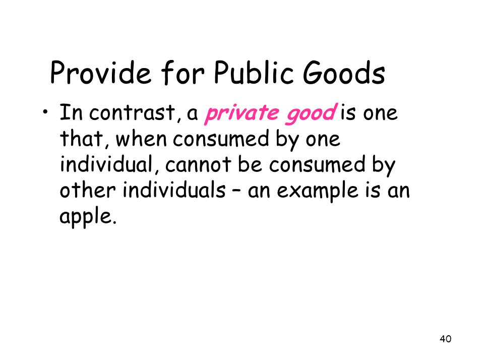 Provide for Public Goods