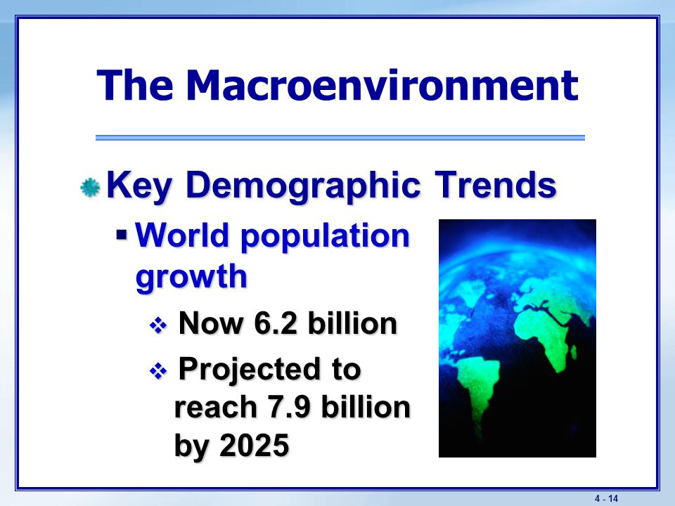 The Macroenvironment Key Demographic Trends Changing age structure