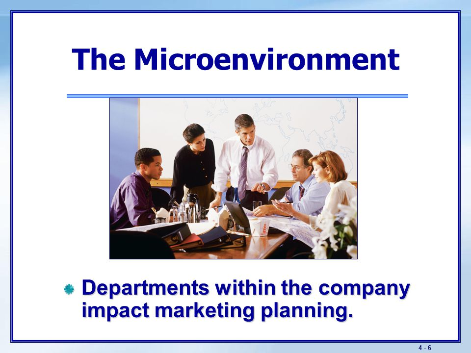 The Microenvironment Suppliers help to create and deliver customer value.