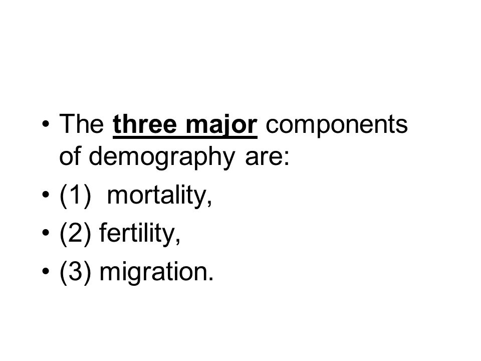 The three major components of demography are: