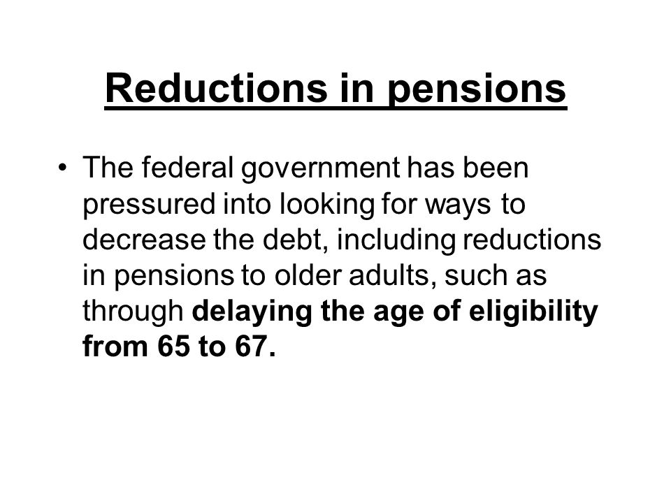Reductions in pensions