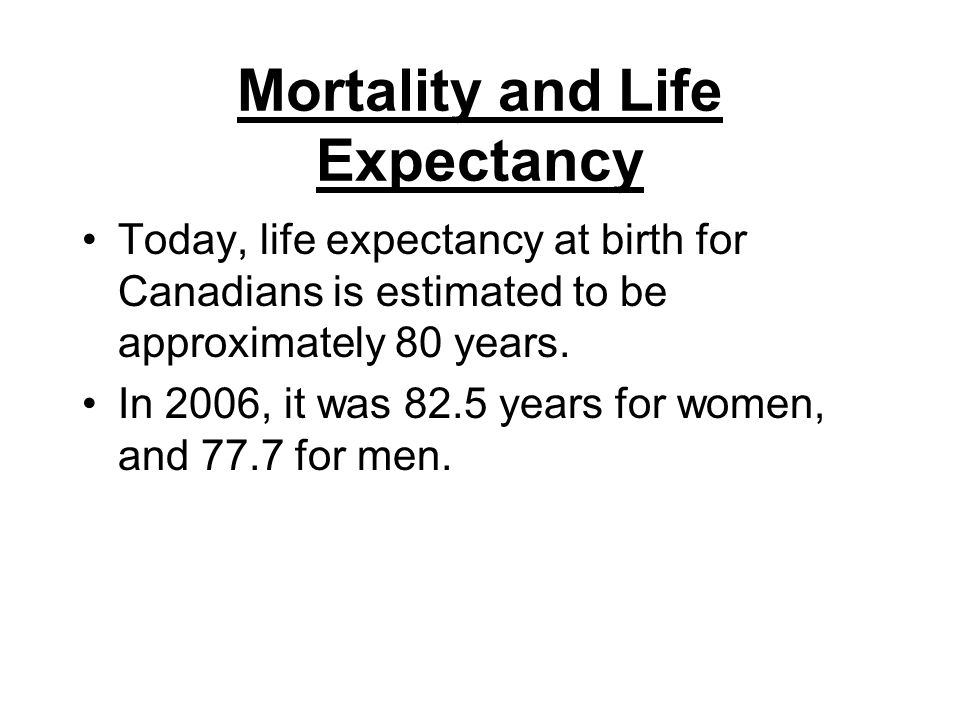 Mortality and Life Expectancy