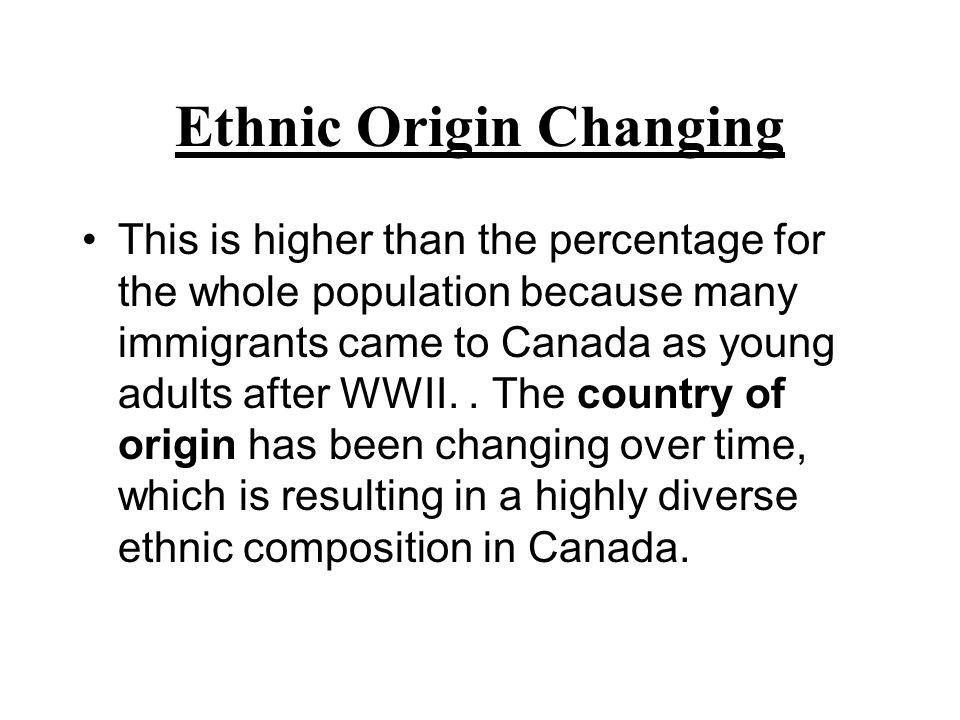 Ethnic Origin Changing