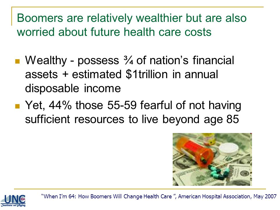 Boomers are relatively wealthier but are also worried about future health care costs