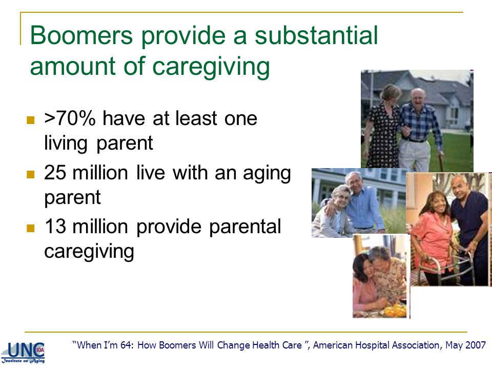 Boomers provide a substantial amount of caregiving