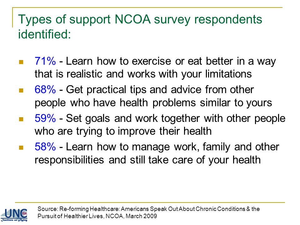 Types of support NCOA survey respondents identified: